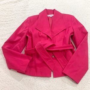Sharagano suits pink collared belted blazer